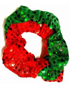 Christmas Scrunchies Green & Red Bling with Bells inside - 12 pack